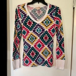 Multi-colored waffle long sleeve top